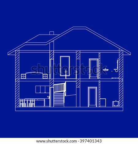 Best Interesting Architectural Background Incision House Vector Blueprint