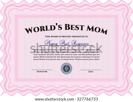 Best Mom Award Template. With guilloche pattern and background. Customizable, Easy to edit and change colors.Lovely design.