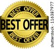 Best offer golden label, vector illustration - stock photo