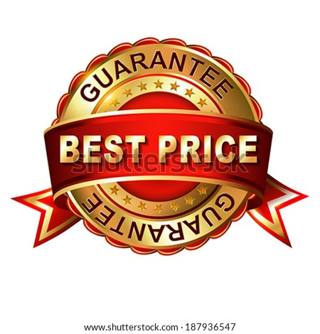 Best price guarantee golden label with ribbon.  Vector illustration.