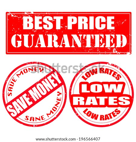 best price guaranteed , save money , low rates grunge stamp with on vector illustration