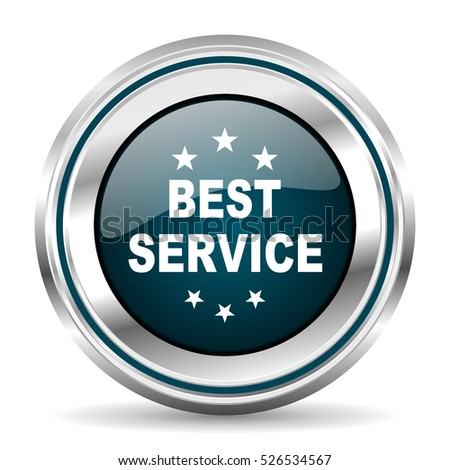 Best service vector icon. Chrome border round web button. Silver metallic pushbutton.