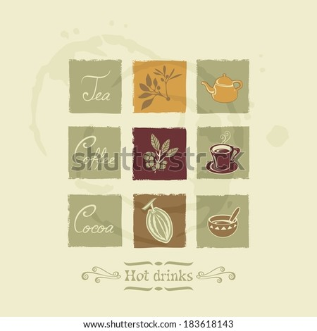 Beverages elements for tea, coffee and cocoa on stained background. No fonts and no transparencies.