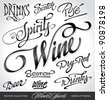 beverages headlines, hand lettering set (vector) - stock