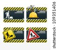 beware traffic sign under construction vector set - stock vector