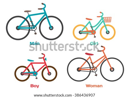 Bicycle Set for family ride. Set riding bikes isolated on white background. Bike for man, woman, boy, girl. Vector flat cartoon illustration
