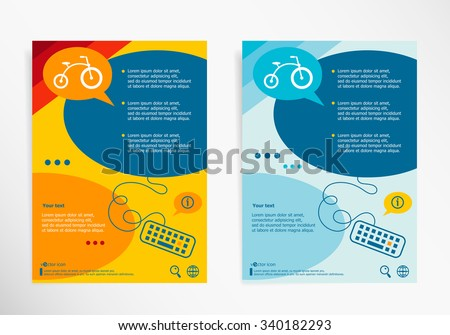 Bicycle symbol on chat speech bubbles. Modern flyer, brochure vector template
