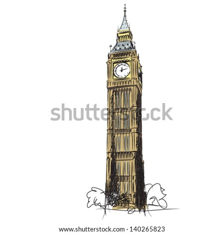 Big Ben - the Clock Tower of the Houses of Parliament  London    London Clock Tower Drawing