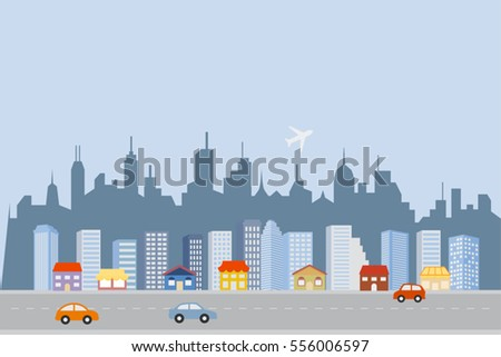 Big city skyline with skyscrapers