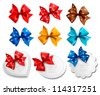 Big collection of colorful gift bows and labels. Vector illustration. - stock vector