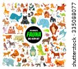 Big collection of cute cartoon animals,birds and sea creatures of the world.Big fauna of the world icon set.Vector illustration isolated on white - stock vector