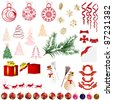 Big collection of different vector Christmas elements for design use - stock vector