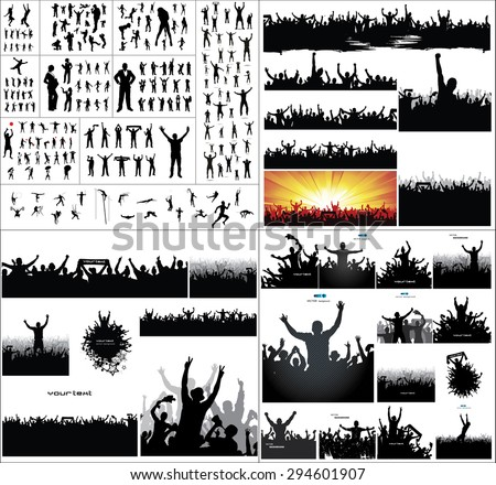 Big collection of silhouettes.And advertising banner for sports championships and concerts