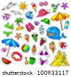 big collection of summer icons - stock vector