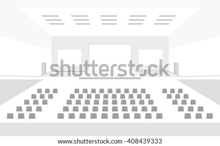 Big concert cinema hall with three large screens interior vector illustration