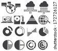big data icon set, data analytics icon set, cloud computing icon set - stock vector