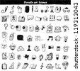 Big doodle set - back to school - stock photo