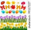 Big Easter set with traditional eggs flowers and bow and ribbons. Vector - stock photo