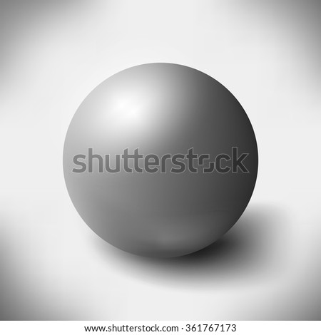 Big glass sphere with transparent glares and highlights on grey background. Black pearl. Vector illustration, contains transparencies, gradients, effects. Abstract texture for your design and business