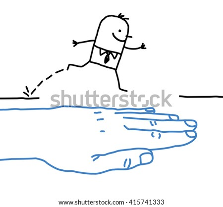 big hand with cartoon character - help