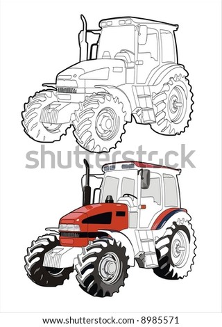 Big heavy red tractor