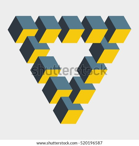 Penrose Triangle Cubes Impossible Figure Cons...