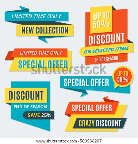 Big Sale Banners, labels, badges, discount lettering. Holiday, end of season sale, special offer design templates, objects, sticker concept collection.