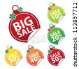 Big Sale Christmas Ball Sticker tags with Sale 10 - 50 percent text on Colorful Christmas Ball Sticker tags - EPS10 Vector - stock vector