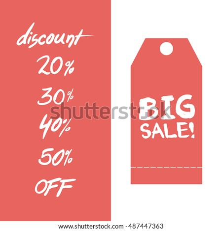 big sale discount label in white and red colors backdrop