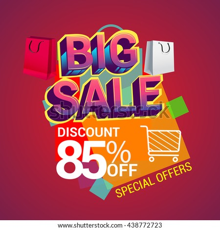 Big sale discount 85% off vector design for banner, flyer and brochure for event promotion business or department store.