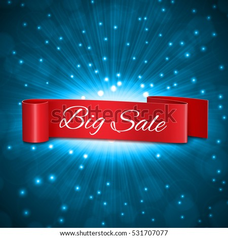 Big sale tag. Ribbon on a blue background with big sale tag. EPS10 vector
