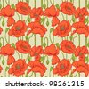 Big seamless pattern of red poppies - stock vector