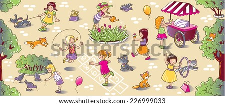 Big seamless pattern or picture set of small girls playing in the yard with cats and dogs, watering flowers, jumping and eating ice cream