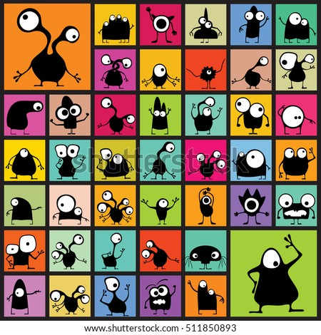 Big set of black Funny Monsters  on different color shapes. cartoon illustration