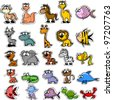Big set of cartoon animals and fishes - stock photo