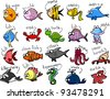 Big set of cartoon marine animals - stock vector