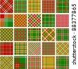 Big set of christmas plaid patterns - stock vector