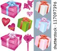 Big set of colorful gift boxes with bows and ribbons and holiday decorations isolated on white background. Vector illustration - stock vector