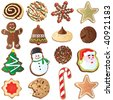 Big set of Cute Christmas cookies isolated on white - stock photo