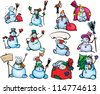 Big set of fun snowmen for design. - stock photo