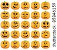 Big set of halloween pumpkins with Jack O`Lantern face, vector illustration - stock vector
