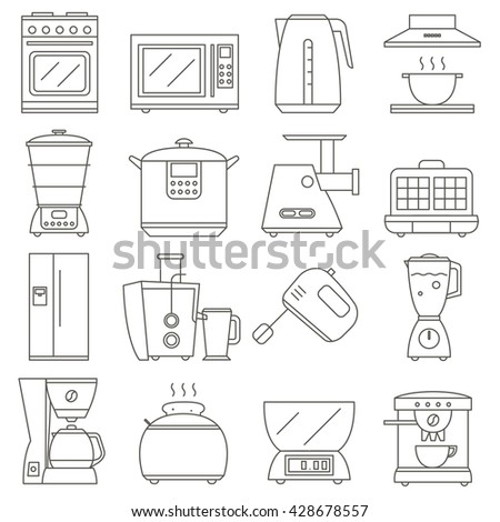 Big Set Of Line Icon Of Electrical Kitchen Appliances Isolated On White  Background, Vector Flat Part 62