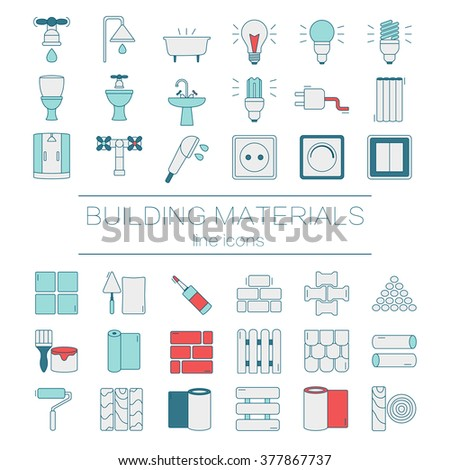 Big set of modern thin line  color icons building materials. Pictograms for DIY shop, construction and building materials. Vector illustration.