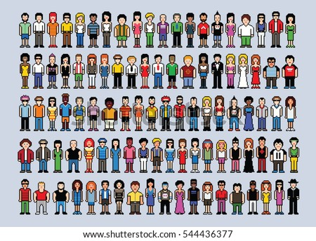 Big set of pixel art people avatars, video game style vector illustration isolated