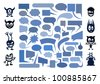 Big set of speech bubbles with funny monsters. - stock photo