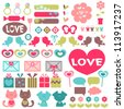 Big set of various romantic elements for design - stock vector