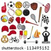 big sports collection (big set of sport objects, sport icons, foam finger, boxing gloves, basketball ball, baseball ball, tennis ball, sailboat, checkered flag, volleyball ball, hockey stick, bicycle) - stock vector