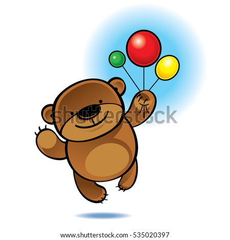 Big teddy bear flying with color balloons