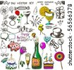big vector set : Birthday doodles - stock vector