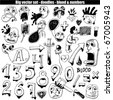 big vector set : doodle & numbers - stock vector